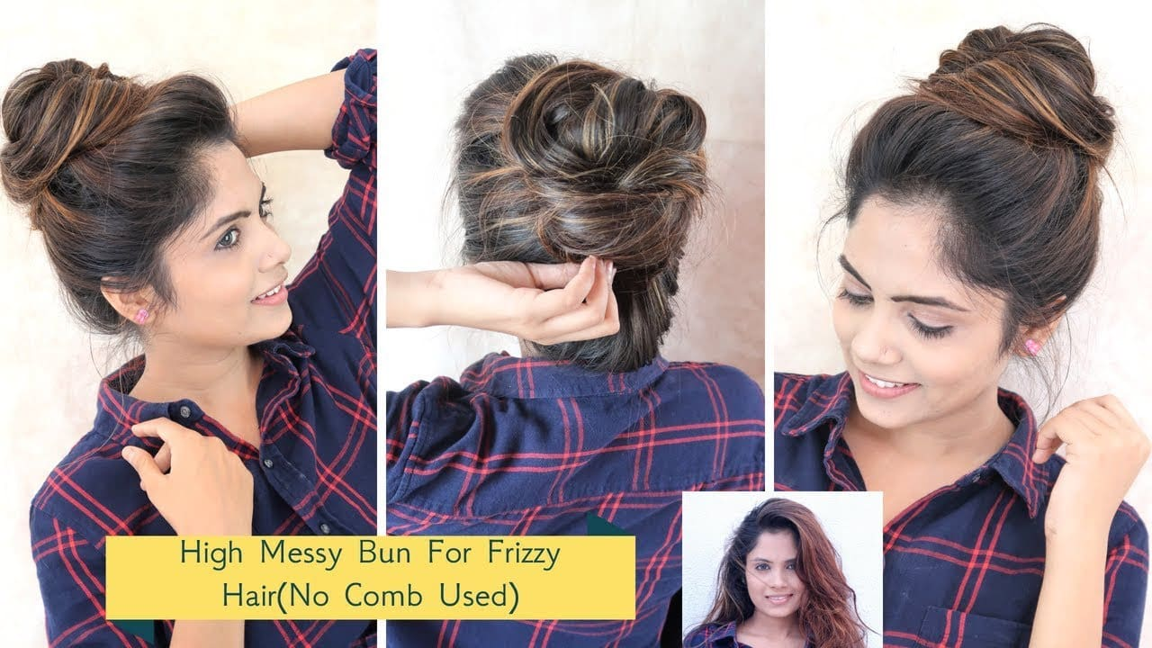 2 Min High Messy Bun Hairstyle For Frizzy Hair(No Comb Used) 13