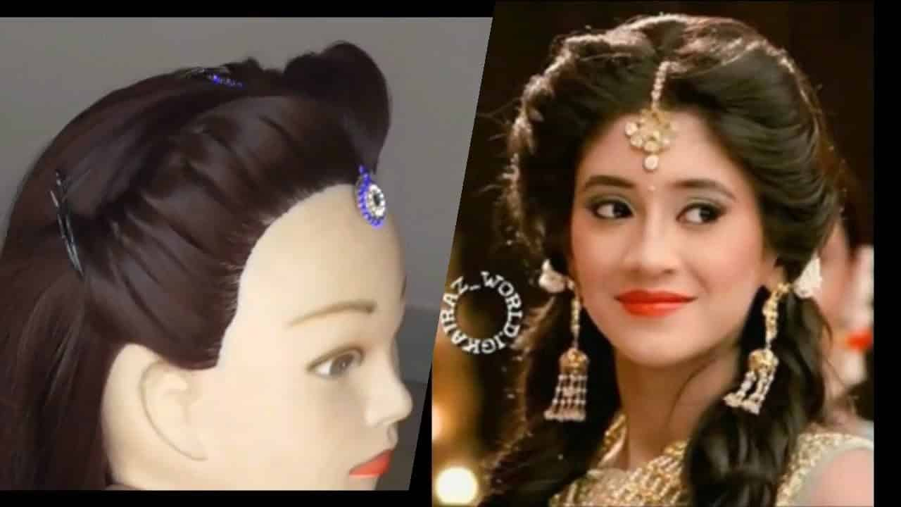 easy weddings or functions  hairstyle  DIY- HOW TO FIX MAG  TIKKA  WITH PUFF 6