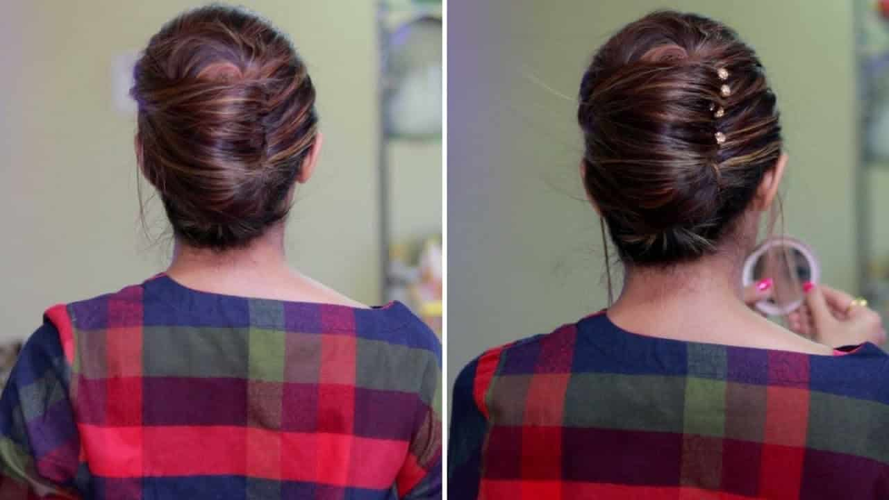 Quick and Easy Summer Hairstyle | French Bun, French Roll, French Twist Hairstyle 3