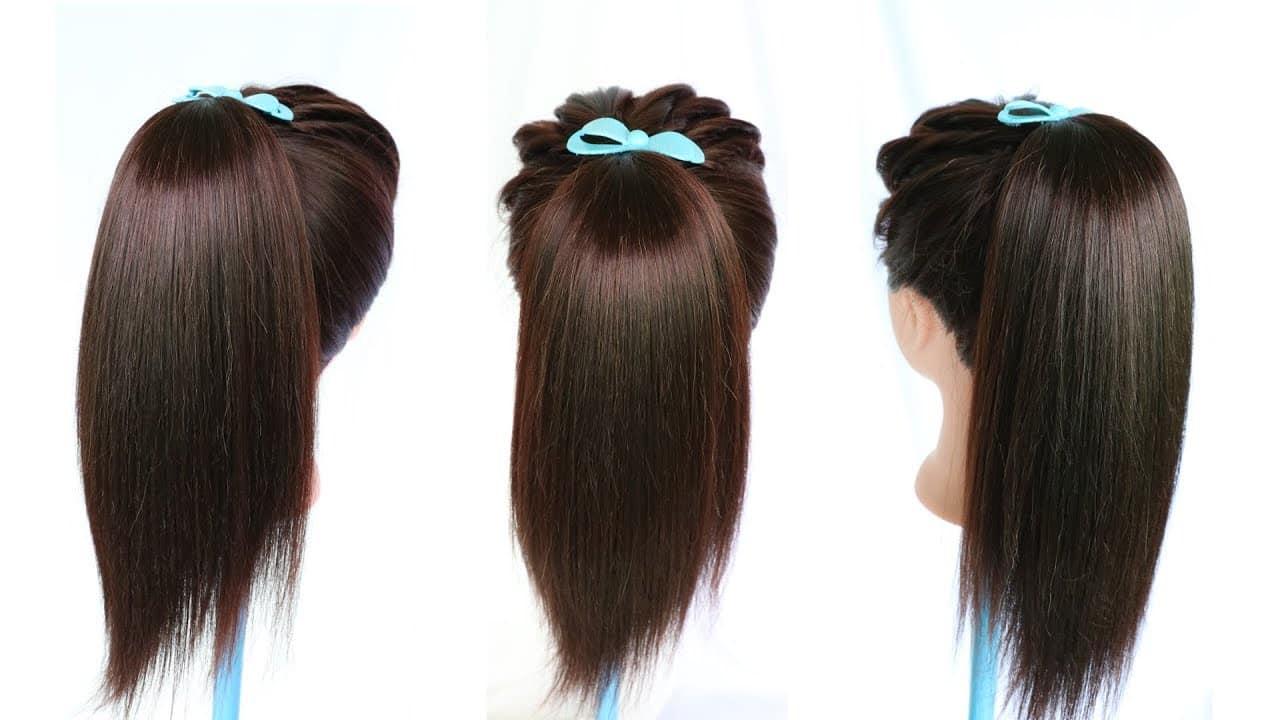 new amazing volumized high ponytail hairstyle || ponytail || cute hairstyles || hairstylehairsties 13