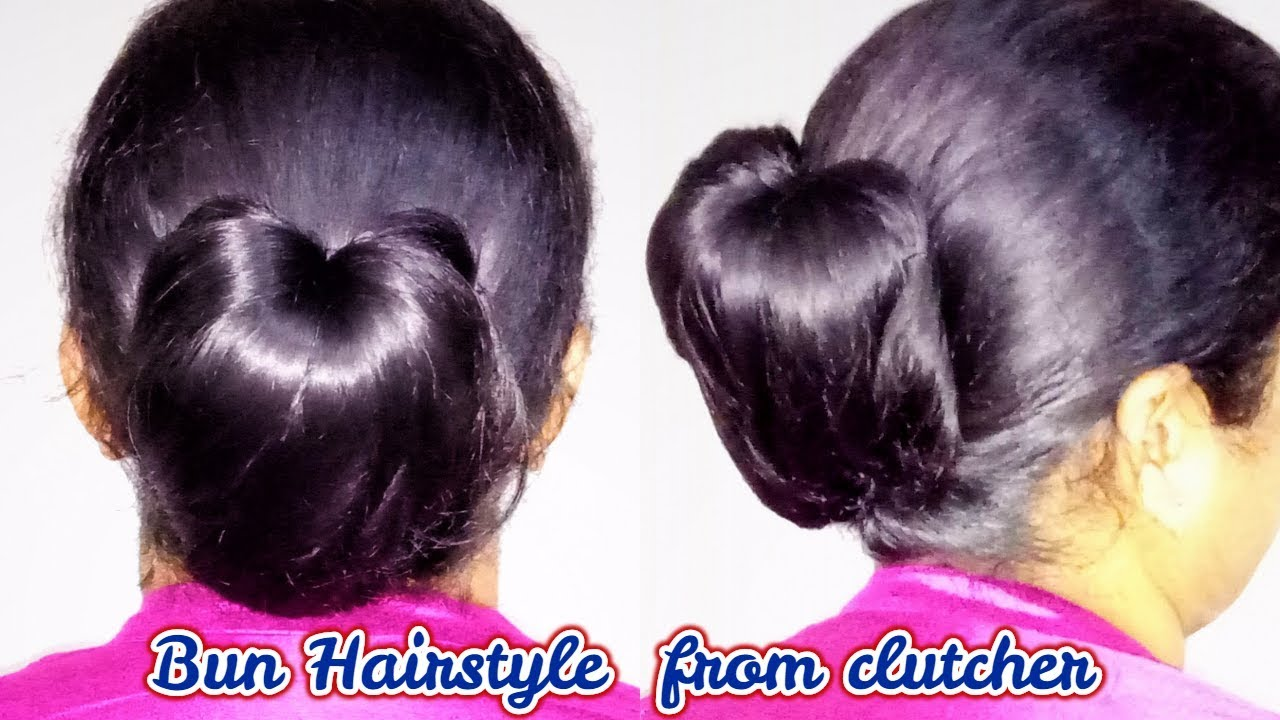 2 awesome hairstyles by using clutcher ||bun from clutcher ||  new hairstyle || hairstyle for girls 11