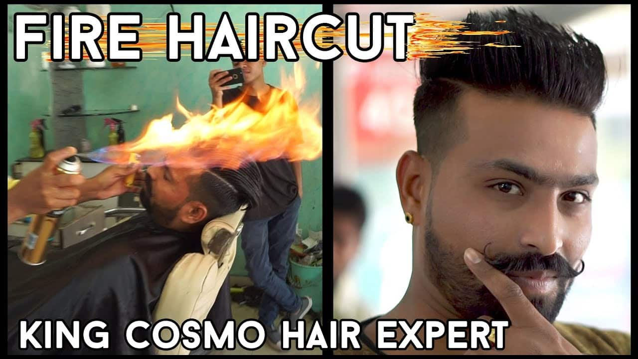 FIRE HAIRCUT IN INDIA | KING COSMO HAIR EXPERT | Desi man-FIRE CUTTING | Hairstyles for Men 16