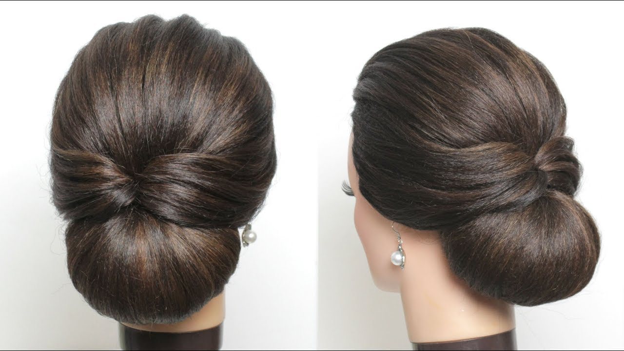 New Simple Hairstyle For Girls. Cute And Easy Party Hair Bun. 2