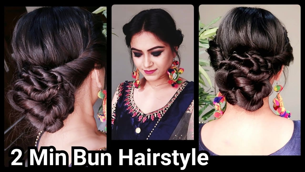 2 min Indian Bun Hairstyle for DIWALI//Easy Hairstyles For medium to long hair//Party Hairstyle 10