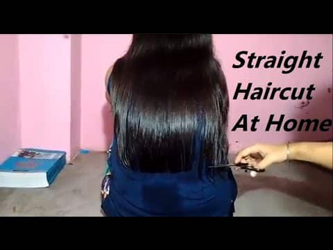 straight haircut at home | Easy haircut for women 12