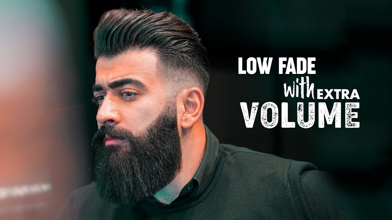 Low Fade Slicked Back With Volume Mens Hairstyle Inspiration