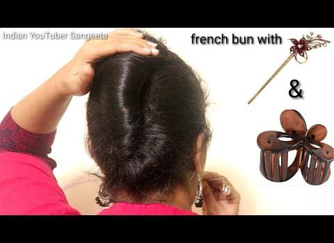 French bun with Bunstick and Clutcher || Hair Style Girl || hairstyles for girls || hairstyles 1
