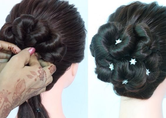 new bubble bun hairstyle trick || new hairstyle || messy bun || cute hairstyles || prom hairstyles 12