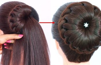 new bun hairstyle for wedding and party || trending hairstyle || party hairstyle || updo hairstyle 14