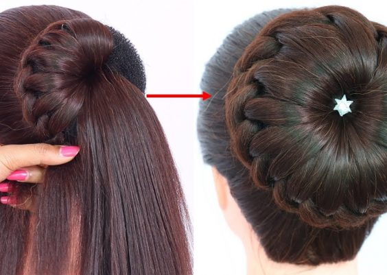 new bun hairstyle for wedding and party || trending hairstyle || party hairstyle || updo hairstyle 4